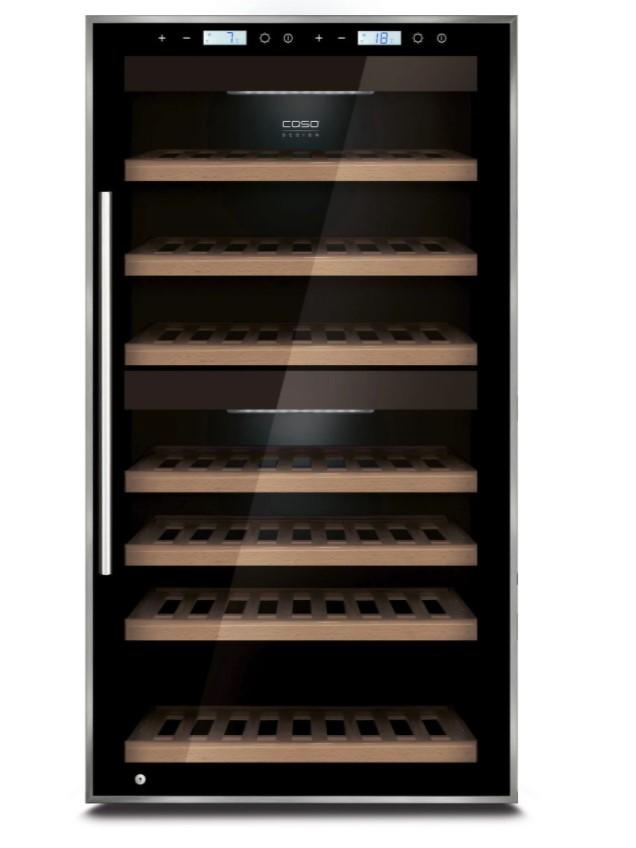 Dette vinkøleskab fra Caso egner sig perfekt til dig, der opbevarer vin i hjemmet. Du kan opbevare op til 66 flasker vin i to individuelle temperaturzoner.