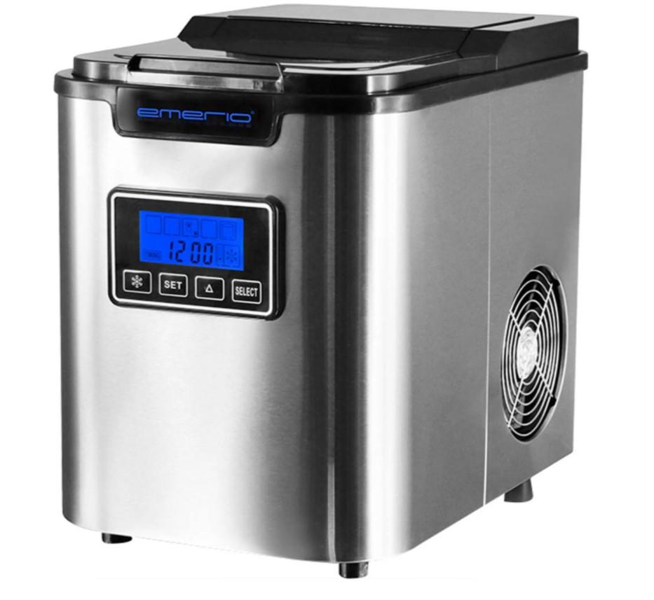 Denne isterningemaskine fra Emerio er blandt de bedste isterningemaskiner på markedet. Den klarer sig godt i isterningemaskine test, og den kan producere op til 12 kilo is i døgnet.