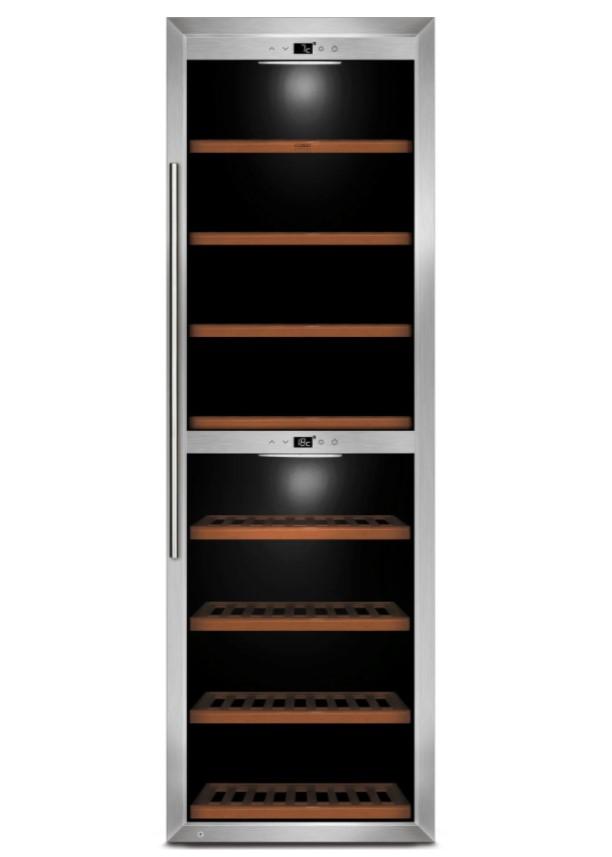 I dette vinkøleskab fra Caso er der plads til intet mindre end 180 flasker vin. Modellen er udstyret med to kølezoner, touchdisplay og et moderne design.